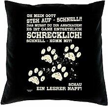 bedrucktes Kissen Tiermotiv Leerer Napf Geschenkidee Dekokissen Geburtstagsgeschenk für Katzenliebhaber inkl. Füllung 40 X 40 cm Farbe: schwarz