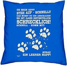 bedrucktes Kissen Tiermotiv Leerer Napf Geschenkidee Dekokissen Geburtstagsgeschenk für Katzenliebhaber inkl. Füllung 40 X 40 cm Farbe: royal-blau