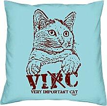 bedrucktes Kissen Tiermotiv VIC Geschenkidee Dekokissen Geburtstagsgeschenk für Katzenliebhaber inkl. Füllung 40 X 40 cm Farbe: hellblau