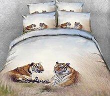 BEDSETAAA 3D-Bettwäsche-Set Animal Tiger Pattern