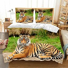 BEDSETAAA 3D Bettwäsche Set Fierce Tiger Pattern