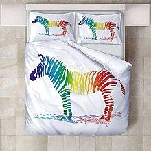BEDSETAAA 3D Bettwäsche Set Tier Farbe Zebra