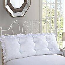 Bedside Kissen Big Back Pad Sofa Rückenlehne weiche Tasche Bett Kissen Baumwolle Lendenwirbel Lesen Kissen Abnehmbare und waschbar ( Farbe : Weiß , größe : 200*50cm )