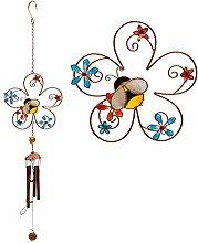 Bee und Flower Design Bunte Windspiel–Glas, metall, Kunstharz Haus und Garten Ornamen