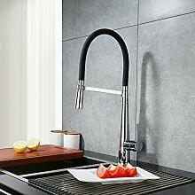 Beelee 360° Drebar hoher Auslauf Küchenarmatur Schwarz Armatur Küche Wasserhahn Mischbatterie Spültischarmatur und Einhebelmischer Küche, Chrom