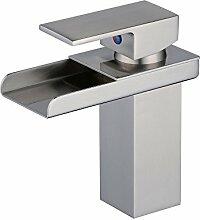 Beelee BL0510N Elegant Einhebel Mischbatterie Wasserhahn Armatur Waschtischarmatur Wasserfall Einhandmischer für Bad Badezimmer Waschbecken