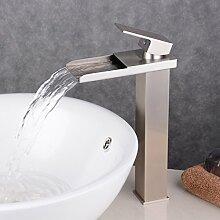 Beelee BL0510NH Wasserhahn Hohe Bad Armatur Waschbecken Waschbeckenarmatur Einhebelmischer Badarmatur Mischbatterie Armaturen für Bad,gebürstetes Nickel
