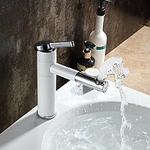 Beelee BL9701W mit Lack beschichtet Weiß Wasserhahn Waschbecken Armatur Waschtisch Badarmatur Einhebelmischer