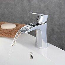 Beelee Design Einhebel Wasserhahn Armatur Waschtischarmatur Wasserfall Einhandmischer für Badezimmer Waschbecken