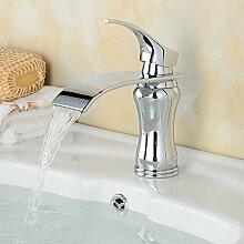 Beelee Elegant Einhebel Mischbatterie Wasserhahn Armatur Waschtischarmatur Wasserfall Einhandmischer für Bad Badezimmer Waschbecken
