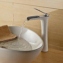 Beelee Messing Chrom und weiß Wasserfall Waschbecken Waschtischmischer wasserhahn Armatur