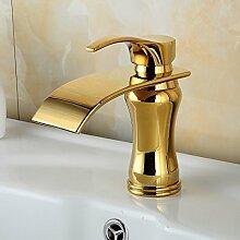 Beelee Messing Einhebel Waschtischarmatur Armatur Wasserfall Einhandmischer für Badzimmer, Gold