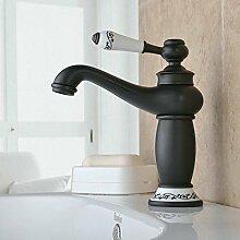 Beelee Schwarz Design Bad Armatur in Bad für Waschbecken Waschtisch Wasserhahn Waschtischarmatur Messing Badarmatur Mischbatterie badzimmer