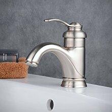 Beelee Waschtischarmatur Einhebel Einhandmischer Mischbatterie Wasserhahn Armatur für Bad Badezimmer Waschbecken, Nickel gebürste