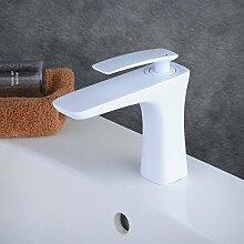 Beelee Weiss Lack Einhebelmischer Wasserhahn bad Armaturen Waschtisch Waschbecken Armatur Mischbatterie Badarmatur Waschtischarmatur Waschbeckenarmatur Armatur für Badezimmer
