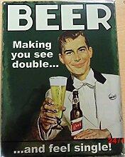 Beer Double Bier Blechschild Stabil Groß NEU
