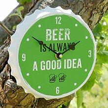 Beer is always a good idea Uhr Grün Wanduhr Perfekte Geschenk für ihn oder seiner Mancave, 20cm