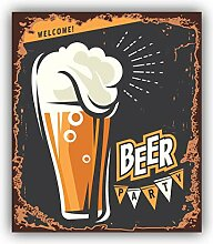 Beer Party Vintage Retro Emblem - Self-Adhesive