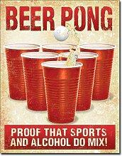 Beer Pong Bier Blechschild Flach Neu 31x40cm S5060