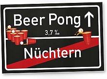 Beer Pong Schild - Ortsschild, Geschenkidee lustiges und kleines Geschenk Einweihungsparty Studenten, Mitbringsel Einweihungsparty WG-Party, Party Deko - Wanddeko, Mallorca-Party, Gag Trinkspiele