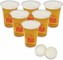 Beer Pong Trinkspiel mit 12 Bechern und 2 Bällen - Saufspiel Partyspiel Bier mit 12 Bechern und 2 Bällen