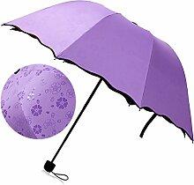 Beetest-Sonnenschutz Regenschirm Sonnenschirm mit Aufbewahrungstasche,Damen,Anti UV,Tragbar Falten,Lila