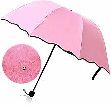 Beetest-Sonnenschutz Regenschirm Sonnenschirm mit Aufbewahrungstasche,Damen,Anti UV,Tragbar Falten,Rosa