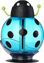 Beetle Luftbefeuchter USB-Luftbefeuchter Aroma Diffuser Aromatherapie ätherisches Öl Diffusor Mini Tragbar Mist Maker 260ml LED Nacht blau