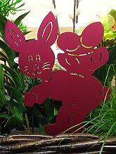 Beetstecker/ Osterdeko -Hase mit Eierkorb- (Rot)