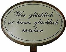 Beetstecker Sprüche glücklich Gartendeko Metall Rostfinish 34 cm hoch
