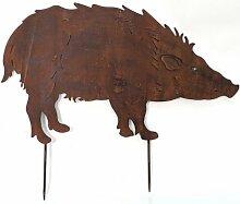 Beetstecker Wildschwein Metall Breite 60 cm