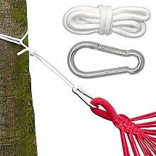 Befestigung für Hängematte Hängeliegen | Hängematten Befestigung | Komplettset inkl. Karabinern Seilen | Belastbarkeit max. 160KG