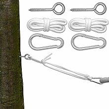 Befestigung für Hängematte | Hängematten Befestigung | Komplettset inkl. Karabinern Ringschrauben Seilen | Belastbarkeit max. 160KG