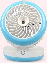Befeuchtungs-Fan-Desktop UBS Mute Spray Schönheit klein Elektrischer Ventilator 12.6 * 12.4 * 12.4cm , blue