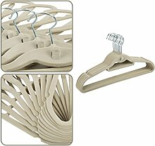 Befied 100 Stück Beflockte Kleiderbügel Samt Platzsparend Rutschfest Garderobenbügel Anzugbügel 0,4 cm dick beige