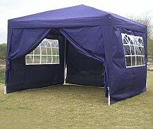 Befied Gartenpavillon 3 x 3 m Aluminium Gartenzelt Wasserdicht faltbar mit 4 Seitenteilen Faltpavillon für Party Festzelt Camping Festival-Zelt Gartenmöbel
