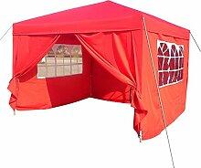 Befied Gartenpavillon 3 x 3 m Aluminium Gartenzelt Wasserdicht faltbar mit 4 Seitenteilen Faltpavillon für Party Festzelt Camping Festival-Zelt Gartenmöbel (Rot)