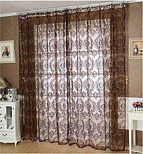 Beflockung Unelastisch Lichtdurchlässigkeit Schirme-Vorhänge Organdy Tüll Vorhänge Fenster-Screening, 1 Panel , coffee , 140*240cm