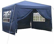 begorey 3x3 Wasserdicht faltbar Pavillon Partyzelt Gartenzelt Festzelt aus Polyester und Aluminiumrohr mit 4 abnehmbare Seiten + Tragetasche (Blau)