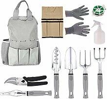 begorey Multifunktion Gartenwerkzeug Gartengeräte Gartenpflege Set 11 Stück Werkzeugtasche Balkonpflanzen Gartenarbeit (Grau)