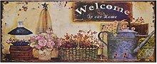Begrüßung Vintage Welcome Blechschild Willkommen 'Welcome To our Home' Blumen