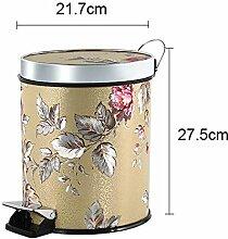 Behälter Mülleimer Mülleimer Zuhause Indoor Mülleimer Pedal bedeckt Kunststoff Groß 25 × 30 , gold bottom powder flower 8l