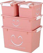 Behälter von Lagerung Behälter von Lagerfläche Notebook von Kunststoff-Box Lagerung der Kleidung des Garderobe von vier Stück Behälter von Lagerfläche der Ablagerungen des dormitor four piece sets Pink