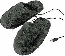 Beheizbare Pantoffeln, Fußwärmer mit USB-Kabel für PC/Computer, Gr. 40-46