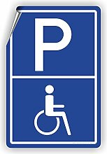 BEHINDERTENPARKPLATZ - Parkplatzschild / D-005 (30x45cm Aufkleber)