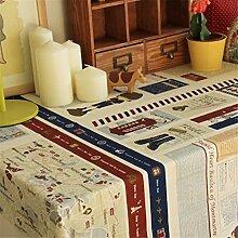 beige blau Poststempel Karte Tischdecken Baumwolle leinen Modern minimalistisch Esstisch Rezeption rechteckigen Square nicht bügeln umweltfreundlich garten Tischtuch