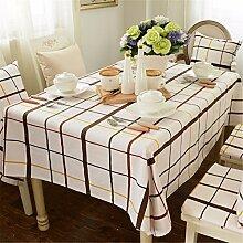 beige braun Kariert Tischdecken Baumwolle leinen Modern minimalistisch Esstisch Rezeption rechteckigen Square nicht bügeln umweltfreundlich garten Tischtuch