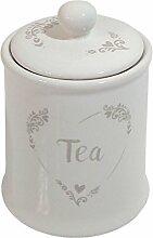 Beige Creme Herz Schablone Keramik Tee Vorratsdose Kanister 16cm x 11cm