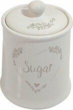 Beige Creme Herz Schablone Keramik Zucker Vorratsdose Kanister 16cm x 11cm