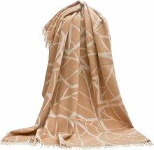 Beige-creme melierte Jacquard Wolldecke mit großen stilisierten Blättern, ca 130x190cm mit Fransen - 670g, 100% Merinowolle